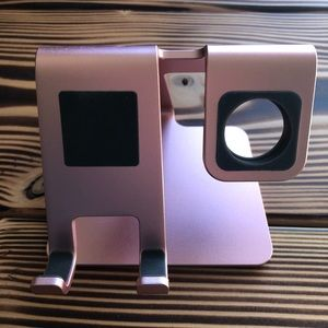 Omoton Phone and Apple Watch Stand Rose Gold